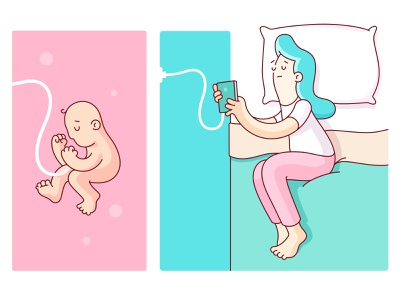 Lifelines truth pillow charger baby bed phone character logo humor drawing geometry illustration