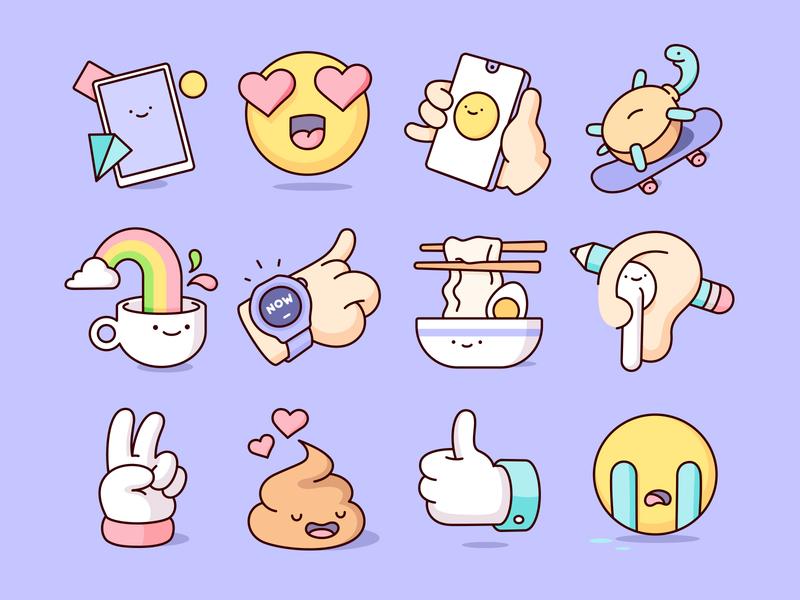 HUAWEI - Sticker Pack drawing ui geometry humor vector character social emojis illustration