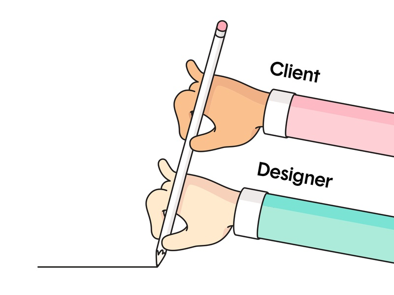 Client & the Designer drawing funny pencil hands character humor geometry design illustration