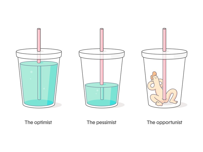The Opportunist comic humor design optimist pessimist perspective plastic clear redhead funny naked straw drink cup character illustration