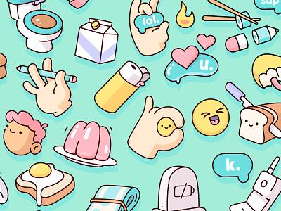 Snapchat - Sticker Pack food kighter jello toilet bubble heart set icons cute objects illustration illustraion