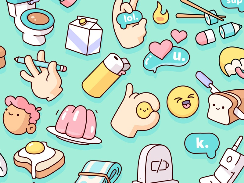 Snapchat - Sticker Pack food kighter jello toilet bubble heart set icons cute objects illustration illustraion