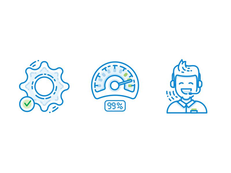 Icons hosting zweeko configure easy uptime speedometer support illustration icon