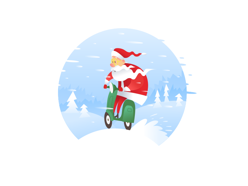 Santa Is Coming holiday winter ride santa claus snow christmas illustration motorbike bike santa