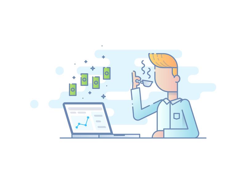 Sales Managing software lightblue character illustration lined sales