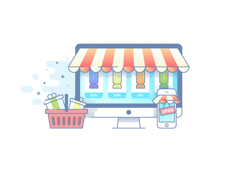 Store Opened gift cards vouchers shop desktop phone showcase online e-commerce store
