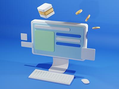 3D Desktop scene blue green design website web keyboard mouse coin coinbase coins illustration render blender3d 3d app effects ux ui