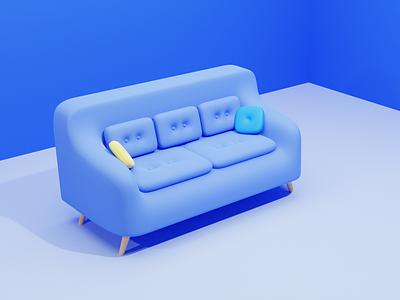 Relaxing at Home couch illustraion house interior app website web render 3dscene pillow room soft blue blender blender3d 3d art 3d sofa ux ui