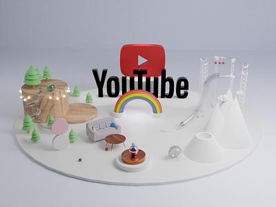 Youtube 3D Scene illustration ios14 google ball lights ui ux youtube video forest rainbow rollercoaster volcano balls wood city blender3d blender 3d art