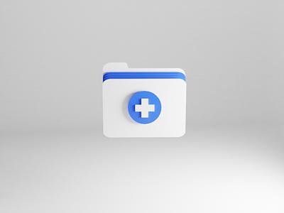 Medical Folder folder icon clinic ios app health app healthcare hospital blue and white paper iconography medical app medicine medical folder 3d illustration app icon set icon ux ui