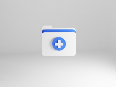 Medical Folder folder icon clinic ios app health app healthcare hospital blue and white paper iconography medical app medicine medical folder 3d illustration app icon set icon ux ui