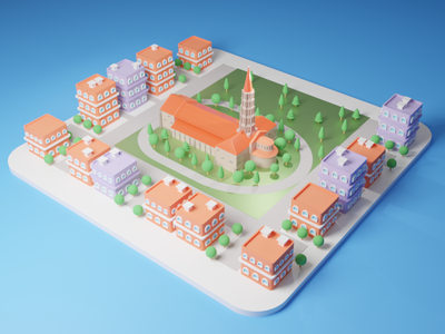 Basilic St Sernin design basil basilica ville france toulouse low poly isometric illustration isometric design isometric illustration diorama cityscape city illustration city branding city blender3d blender 3d art 3d