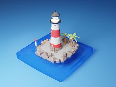 3D Lighthouse palm tree shore seaside sea ocean low poly lighthouse logo lighthouse lighter light illustraion isometric illustration diorama boat blender3d blender 3d art 3d