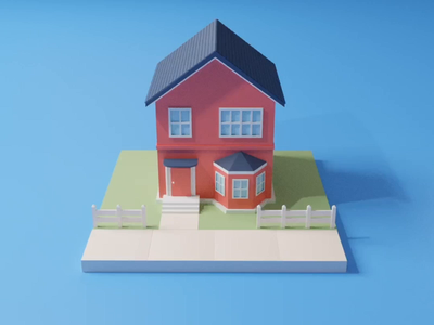 Houses in a loop animat design selection game design town lowpoly buildings rotation rotate swipe 3d illustration animation candy shop building house