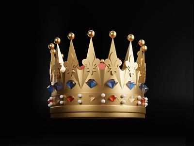 3D Crown animat design blender3d 3d kingdom king gold diamonds ruby crown illustration effects animation