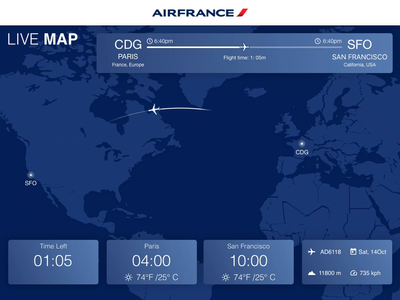 Proto Airfrance IFE airplane airfrance movie entertainment airline flight dashboard ui ife ipad app web design typography effects ux ui