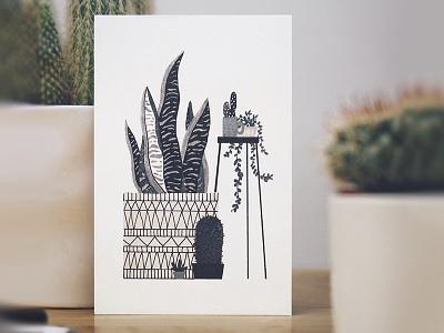Urban Jungle 3 markers drawing furniture design interior flowerpot cactus sansevieria plants indoor illustration