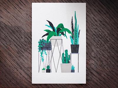 Urban Jungle 5 markers drawing furniture design interior sansevieria cactus plants indoor illustration