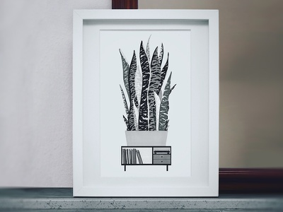 Urban Jungle 7 markers drawing plant sansevieria vinyl records console design interior illustration