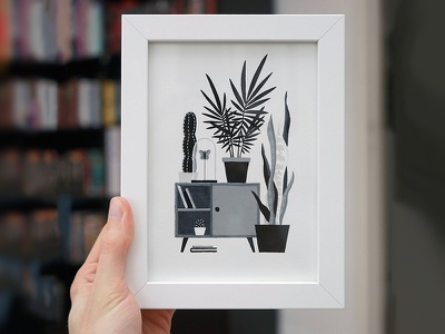 Urban Jungle 11 markers ink drawing cactus sansevieria design interior furniture console cupboard plants ill