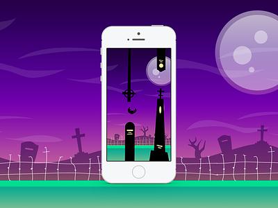 Batty Bat battybat flappybird flapflap flappy game vector ui illustration bat dark html5 js