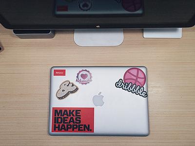 Stickers on my Macbook Pro desk stickers macbook dribbble kekemeke behance workspace vscocam