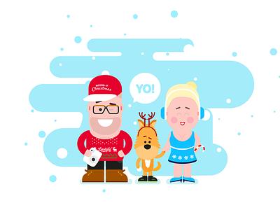 liestyle* X-mas  xmas liestyle wujaszek ciocia piesek vector cartoon characters snow winter tits
