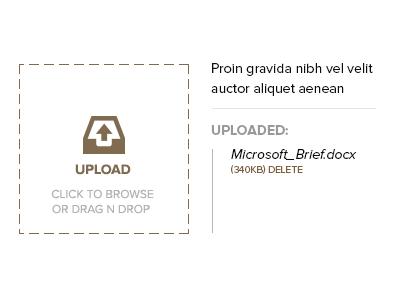 Upload Brief  upload drag n drop upload area select files simple minimalistic ui ux