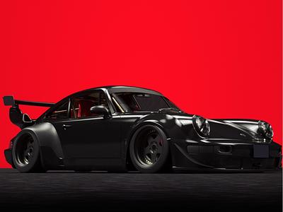 Porsche RWB 3D Render c4d race car car automobiles cars 3d work octane render cinema4d 3d render