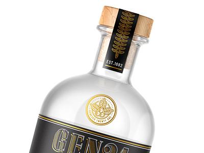 Gen21 Old Style Gin details design graphic  design juniper genever gin bottle bottle illustration gold foil branding alcohol gin packaging gin package design packaging