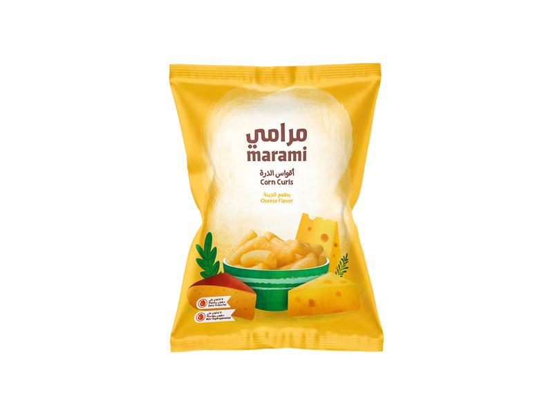 Marami - Corn Curls Package Redesign child yellow swiss pack curls corn puff snack saudi arabic egypt packaging package cheese