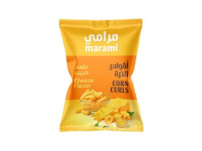 Corn Curls rebranding child flavor yellow snack arabic typography typography packaging corn egypt saudi curls puffs cheese arabic