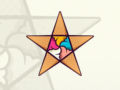 Ice Cream Star shop food restaurant icon identity vector design illustration concept logos branding star logo ice cream