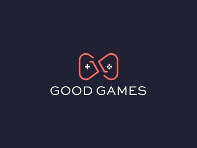 Good Games brand clean abstract joystick white good games mark red design logo mark logo