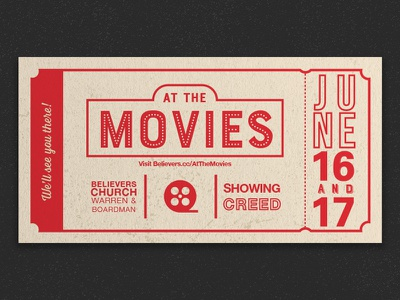 At the Movies Invite typography theater theatre creed church print ticket cinema movies