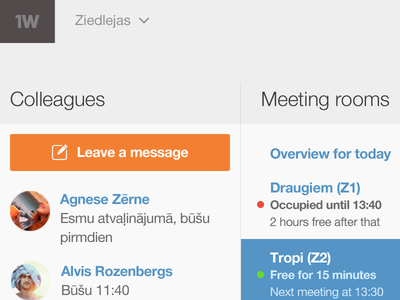 Office dashboard office dashboard admin meeting rooms colleagues overview clean