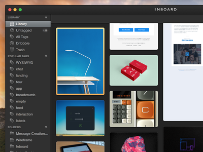 Inboard - Mac app for organizing your screenshots and photos ui yosemite mac app pinterest grid layout sidebar images preview library