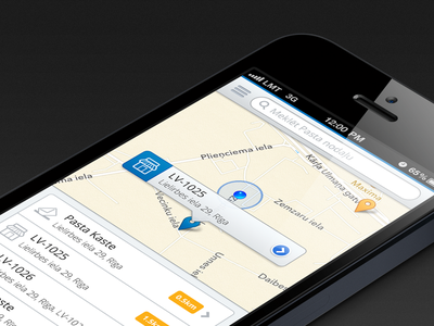 Map Search map search clean ui iphone ios tooltip popover location list view icons navigation menu maps