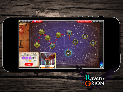 Raven and Orion Menu UI map photoshop video game game user interface ui mobile game