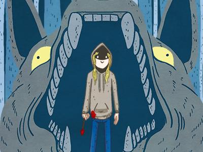 Big Bad Wolf animal hanna flat graphic design assassin art gallery movie film photoshop illustration