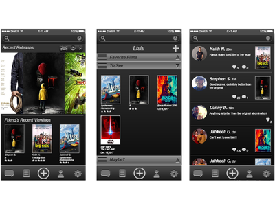 ReelApp movies user experience user interface interactive product design ui ux mobile app social media wireframes film