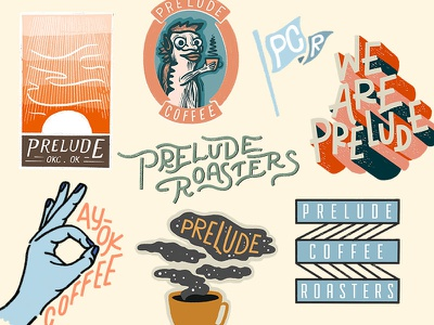 Prelude Coffee Roasters branding design stickers illustration packaging coffee packaging coffee bag texture logo branding coffee design roasters coffee prelude