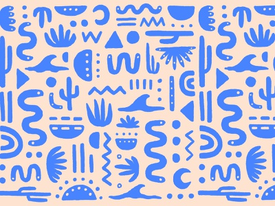 Southwest Pattern natural nature plants blue color squiggle wave snake southwestern pattern cactus new mexico southwest