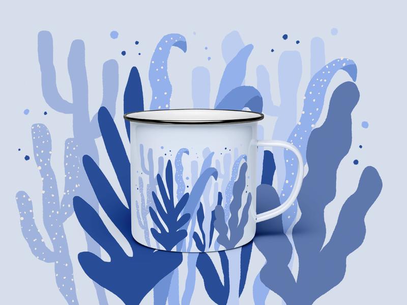 Sea Life Camp Mug design camping outdoors blue seaweed sea illustration cactus cacti plants coffee mug cup camp cup