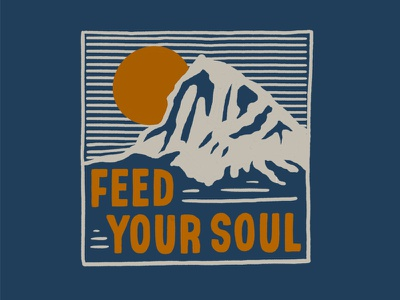 Feed Your Soul evergreen trees negative space peaks mountains illustration sunset sunrise mountain wild wildnerness outdoorsy rei shirtdesign northwest pnw outside outdoors soul
