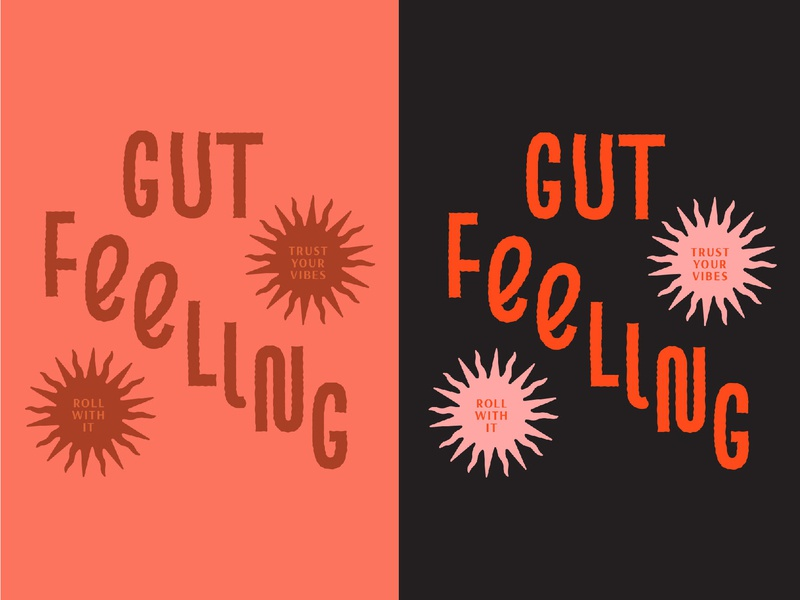 Trust your gut therapy handdone design graphic design illustration type sway orange red drawing lettering typography swirl vibes trust colorful bold sun gut feeling gut