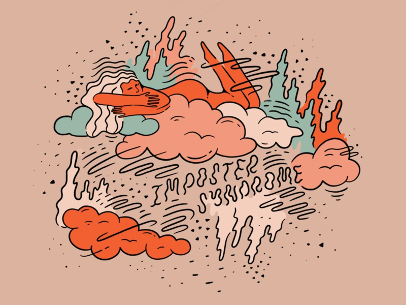 Imposter Syndrome women empowerment doodles women of illustration women illustrators imposter syndrome future is female clouds women lettering hand drawn colorful graphic design design illustration