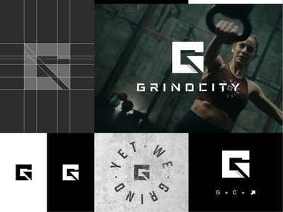 GrindCity: Logo Design minimal simple logo design g logo gc logo fitness club logo mark logomark logo fitness apparel logo gym logo fitness gym logo fitness logo professional logo