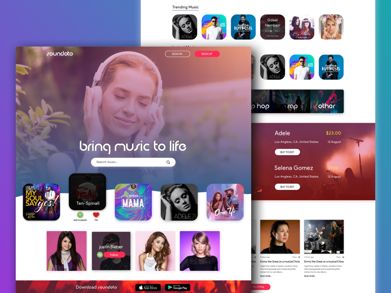 Soundoto - Music Web Design 🎶 sadegh eidi dribbble invite article hello ui web music