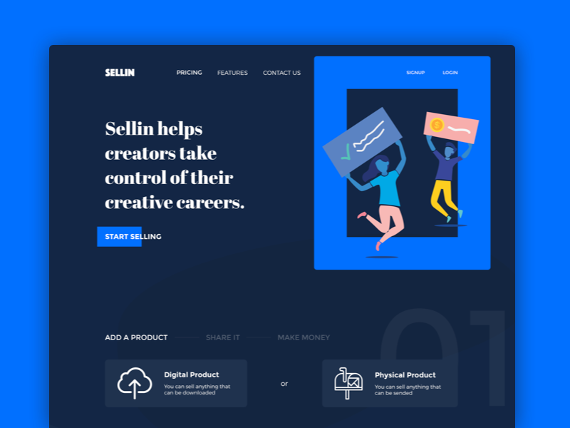 Sellin  - Sell everything you want easily marketplace ui typography dark first feature illustration landing e-commerce market sell